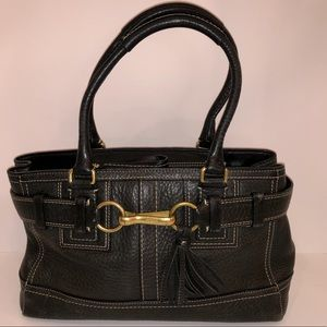 Coach Hamptons black pebbled leather good cond.